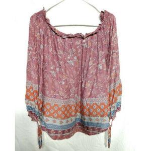 beachlunchlounge Women's Peasant Top Shirt L